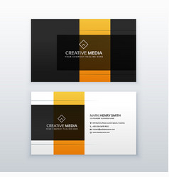 modern minimal yellow and black business card vector image