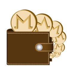 Monero wallet with coins on a white background vector
