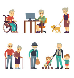 Old age people in different situations senior man vector