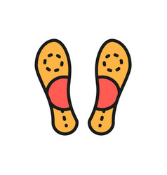Orthopedic insoles flat foot flat color line icon vector