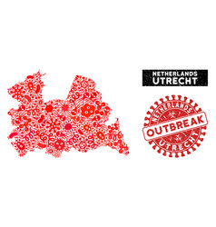 Outbreak mosaic utrecht province map with textured vector