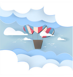 paper art balloon in the sky background vector image
