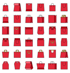 Paper bag icon set filled style editable outline vector