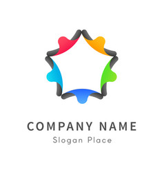 Peoples are back to back formed a star logo vector