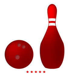 pin and bowling ball icon color fill style vector image