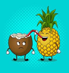 pineapple drink coconut pop art vector image