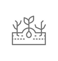 Plant with weeds weed control line icon vector