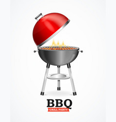 realistic detailed 3d bbq or barbecue grill vector image