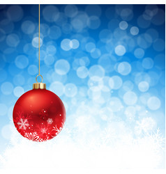 red christmas balls on a defocused flare vector image