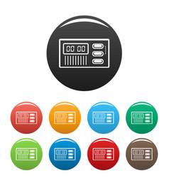 Retro digital clock icons set color vector