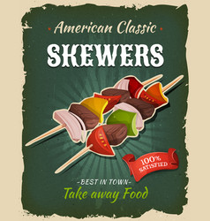 retro fast food skewers poster vector image