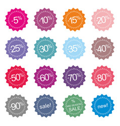 retro stylized sale new and mid season sale icons vector image