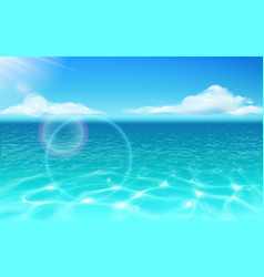 sea water surface and glowing sun with clouds vector image