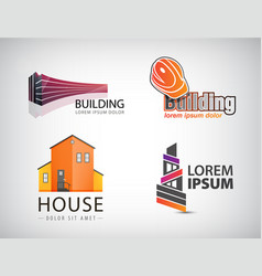 set of building logos house office real vector image