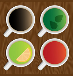 set of coffee and tea cups on a wooden table top vector image vector image