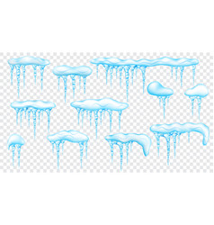 set of snowdrifts with translucent icicles vector image