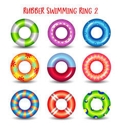 set rubber swimming rings with geometric paints vector image