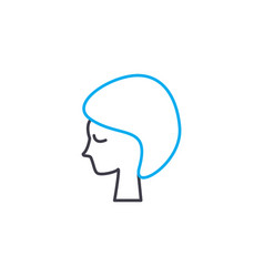 short haircut thin line stroke icon short vector image