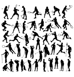 silhouettes sport tennis and golf activity vector image