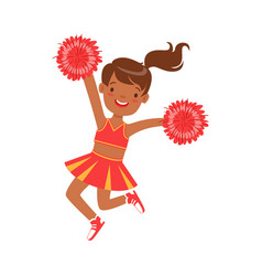 Smiling little cheerleader dancing with red vector