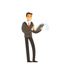 Smiling successful businessman character in suit vector