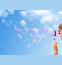 soap bubbles realistic background vector image