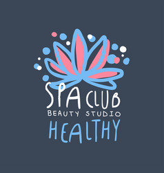 Spa club health and beauty studio logo badge for vector