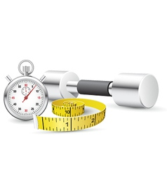 stopwatch and measuring tape vector image