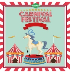 Striped tent and horse of carnival design vector