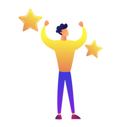 Successful businessman with golden stars vector