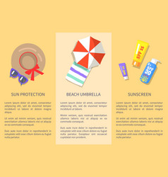 summer attributes collection with texts poster vector image