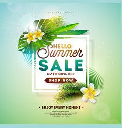 Summer sale design with flower and exotic leaves vector