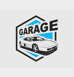 supercar logo sport car label auto garage symbol vector image