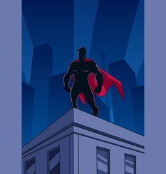 superhero roof watching silhouette vector image