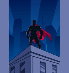 superhero rowatching silhouette vector image