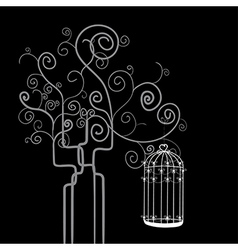 Swirl tree bird cage vector