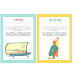 Tanning and hair styling procedure of woman in spa vector