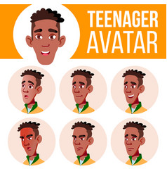 teen boy avatar set black afro american vector image