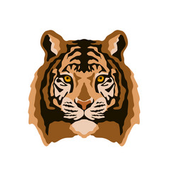 tiger face flat style front vector image