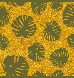 tile tropical pattern with exotic leaves on golden vector image