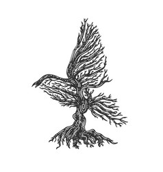 tree in shape bird without leaves sketch vector image