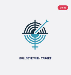 Two color bullseye with target icon from vector