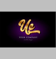 uc u c 3d gold golden alphabet letter metal logo vector image