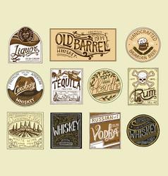 vintage american badge absinthe tequila vodka vector image
