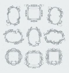 vintage borders and victorian ribbons set vector image