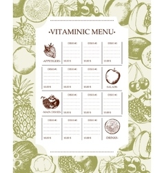 Vitaminic Column Menu - modern hand drawn vector image