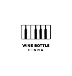 wine bottle piano music bar logo design vector image