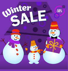 winter sale advertising layout family snowmen vector image
