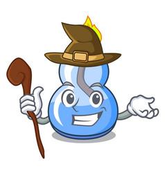 Witch alcohol burner mascot cartoon vector