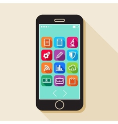 With a mobile phone flat icons for web and mobile vector